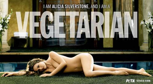 Imagem da campanha ao vegetarianismo com Alicia Silverstone pelada