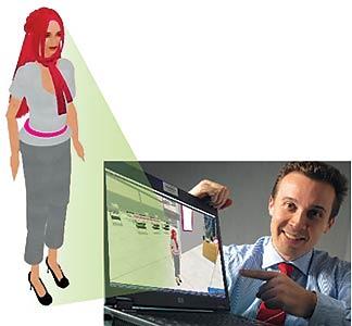 André Vieira, da T-Systems, e T-Pink, sua funcionária virtual
